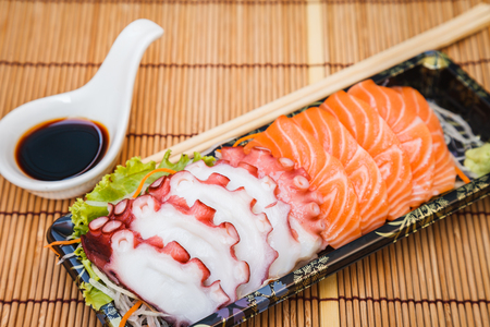 Japanese food with salmon octopus. happy for meal time.