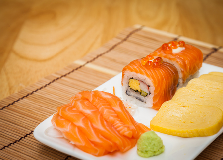 Japanese food consists of rice, salmon, eggplant. sushi for meal time. Stock Photo