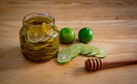 lime and honey bee made honey pickled lemon