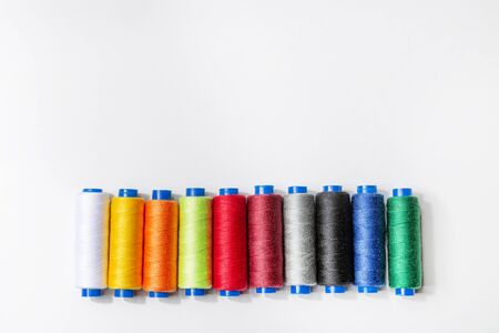 Set of multi-colored threads for sewing