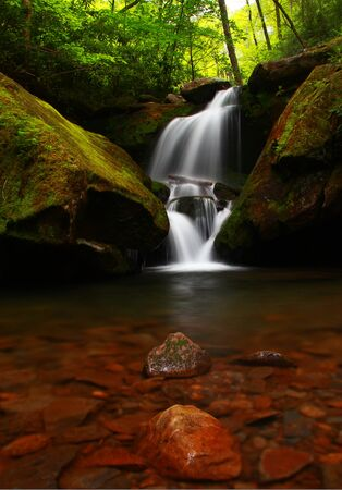 waterfalls on the roaring fork motor trail near Gatlinburg Tennessee in the smoky mountain national park