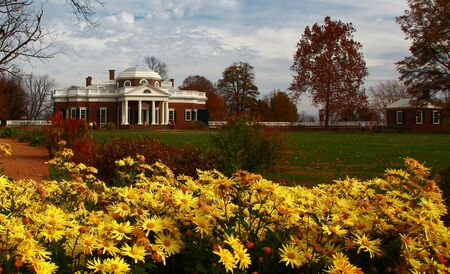Thomas Jefferson's residence at Monticello near charlottesville virginia on a sunny day