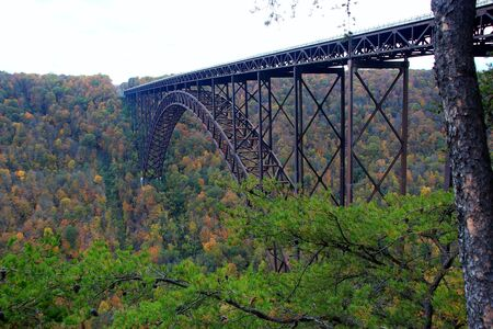 New river gorge bridge in west virginia sorrounded by fall colors