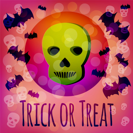 infernal: Trick or Treat Halloween card with green 3d skull and flying bats