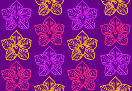 Deep violet fashion seamless background with outline purple, yellow and pink tropical orchids Vector