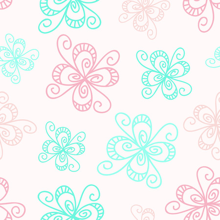 pale colors: Calm seamless pattern in pale colors with pastel abstract doodle flowers