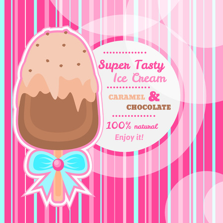 Intense pink striped background or frame with appetizing chocolate ice cream on a stick with caramel and vanilla topping Illustration