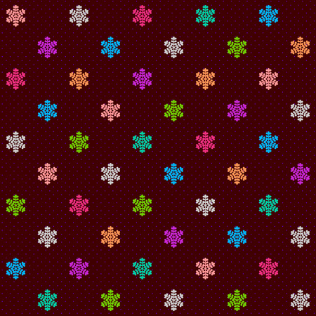 variegated: Dotted dark brown seamless background with variegated small snowflake elements