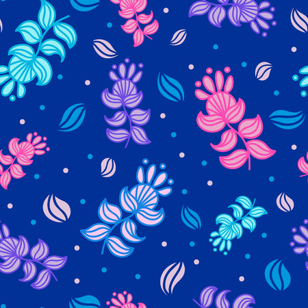 Fantasy seamless background with bright multicolor shining imaginary magic flowers
