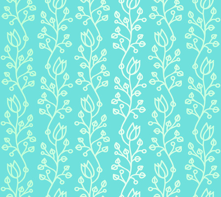 Turquoise outline curved stylized harebell seamless pattern with smooth color gradation Illustration