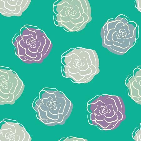 intense: Contrasto verde seamless in colori intensi con multicolor pallido Doodle contorno rose