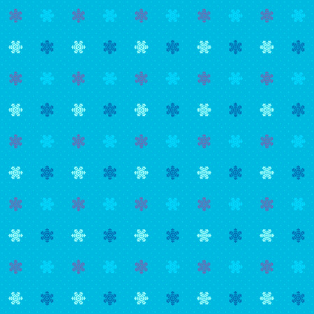 variegated: Dotted blue seamless background with variegated small snowflake elements