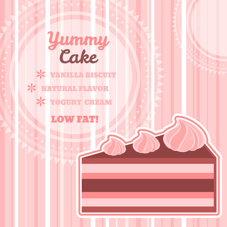 Striped light pink square dessert menu, recipe card or advertising poster template with text space round frame and yummy piece of cake with meringues