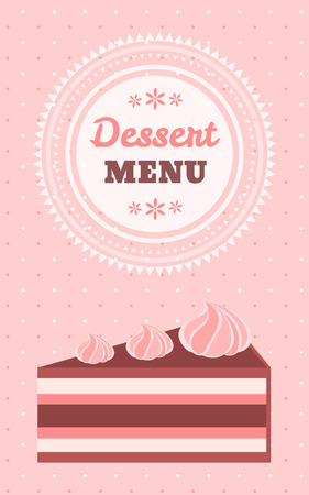 Dotted light pink vertical dessert menu template with text space round frame and yummy piece of cake with meringues Vector