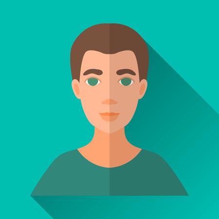 茶髪: ターコイズ ブルー フラット スタイルの正方形は影で男性キャラクター アイコン形。緑のシャツを着て茶色の髪を持つ男のイラスト。