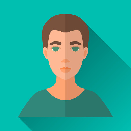 hombre: Turquoise blue flat style square shaped male character icon with shadow. Illustration of a man with brown hair wearing a green shirt.