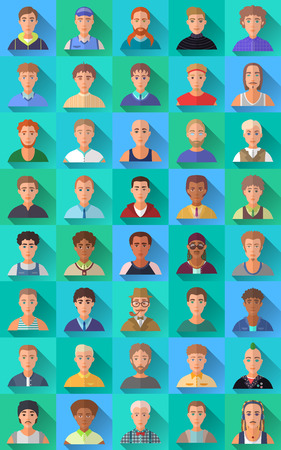 trendy male: Very big set of various trendy hipster flat style square shaped female and male character icons with shadows. Represents different subcultures, age, race, nationality and lifestyles. Illustration