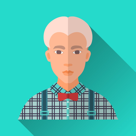 hombre: Turquoise blue flat style square shaped male character icon with shadow. Illustration of a young blonde hipster man with stylish haircut wearing a blue check shirt, suspenders and a red bow tie .