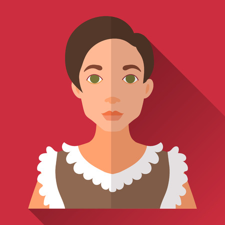 Red flat style square shaped female character icon with shadow. Illustration of fashionable young woman with short stylish haircut wearing  a brown sleeveless blouse. Çizim