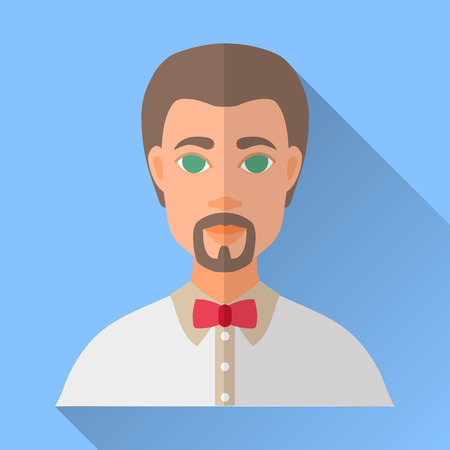 brown shirt: Blue trendy flat square wedding day fiance icon with shadow. Illustration of handsome future husband with short brown hair, beard and moustache wearing white shirt and red bow tie. Hipster wedding.