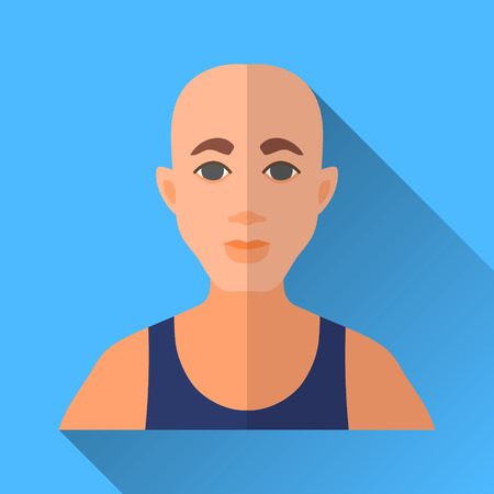 hombre: Blue flat style square shaped male character icon with shadow. Illustration of a bald man wearing a blue sleeveless sports shirt.