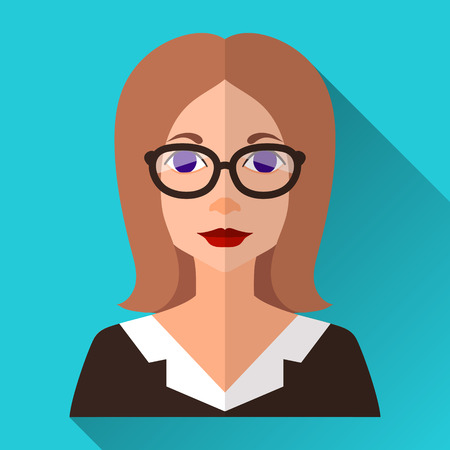 medium length: Blue flat style square shaped female character icon with shadow. Illustration of an intelligent business woman or a teacher with brown medium length hair wearing a suit and glasses. Illustration