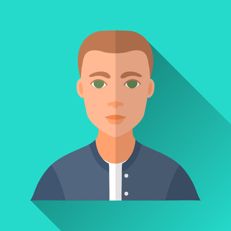 hombre: Turquoise blue flat style square shaped male character icon with shadow. Illustration of a young man with short hair wearing a blue college bomber.