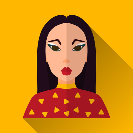 long black hair: Yellow flat style square shaped female character icon with shadow. Illustration of hot and attractive asian woman with long black hair.