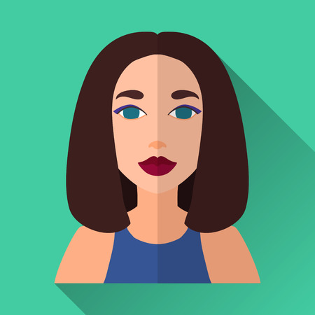 medium length: Green flat style square shaped female character icon with shadow. Illustration of confident smiling young woman with brown medium length hair wearing a blue dress. Illustration