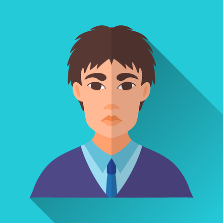 asian businessman: Blue flat style square shaped male character icon with shadow. Illustration of a young asian businessman or a student wearing a blue suit and a tie.
