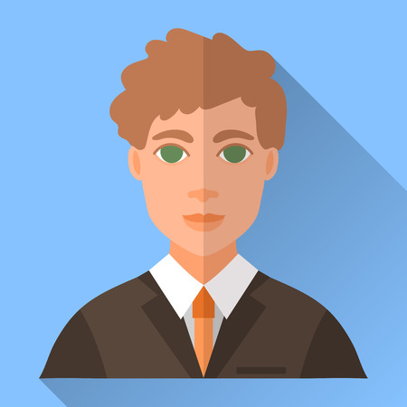 brown shirt: Blue trendy flat square wedding day fiance icon with shadow. Illustration of handsome future husband with short curly brown hair wearing dark brown hipster suit, white shirt and orange tie.