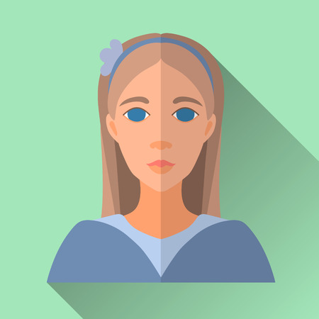 blue shirt: Green flat style square shaped female character icon with shadow. Illustration of beautiful young teenage girl with long brown hair wearing a blue shirt and headband. Illustration