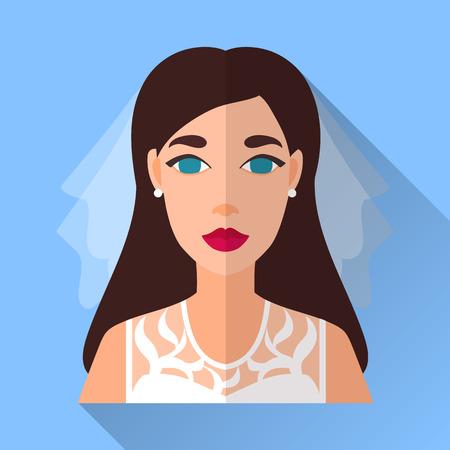 茶髪: 青いトレンディな平らな正方形の結婚式日婚約者アイコンの影。白いレース ノースリーブ ドレス、ベール、ダイヤモンドのイヤリングを身に着けている長い茶色の髪と魅力的な花嫁のイラスト。