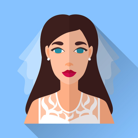 fiancee: Blue trendy flat square wedding day fiancee icon with shadow. Illustration of an attractive bride with long brown hair wearing white lacy sleeveless dress, veil and diamond earrings.