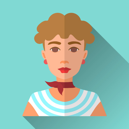 neckerchief: Blue flat style square shaped female character icon with shadow. Illustration of beautiful young woman with short curly brown hair wearing blue and white marine style stripped vest, red neckerchief and earrings.