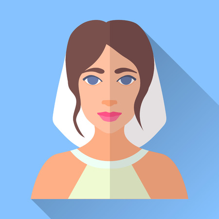 fiancee: Blue trendy flat square wedding day fiancee icon with shadow. Illustration of an attractive smiling young bride with stylish hairdo wearing white open shoulder dress and veil. Illustration