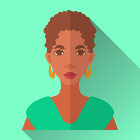 Green flat style square shaped female character icon with shadow. Illustration of an attractive young african american woman with short curly afro hairstyle wearing green shirt and golden hoop earrings. Illustration