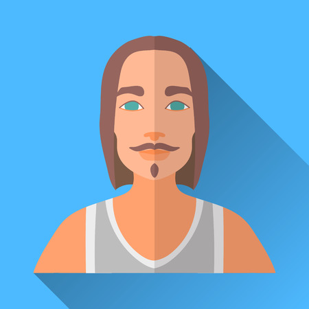 Blue flat style square shaped male character icon with shadow. Illustration of a rock guy with long hair, beard and moustache wearing a white sleeveless sports shirt. Illustration