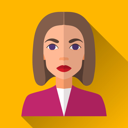 medium length: Yellow flat style square shaped female character icon with shadow. Illustration of an attractive woman with brown medium length hair wearing a purple jacket and white shirt.