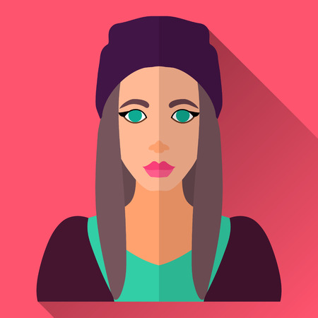 beanie: Pink flat style square shaped female character icon with shadow. Illustration of an attractive young woman with long brown hair wearing sport skater clothes and slouch� beanie hat.