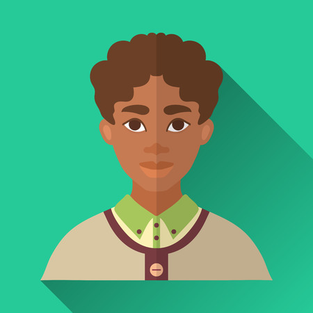 brown shirt: Green flat style square shaped male character icon with shadow. Illustration of a young african american man with curly brown hair wearing a green shirt and a beige pullover. Illustration