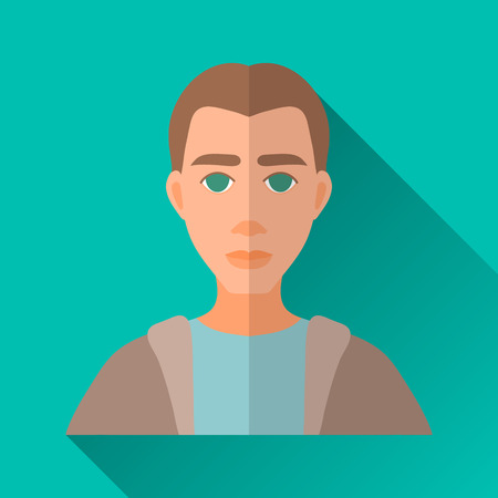 hombre: Turquoise blue flat style square shaped male character icon with shadow. Illustration