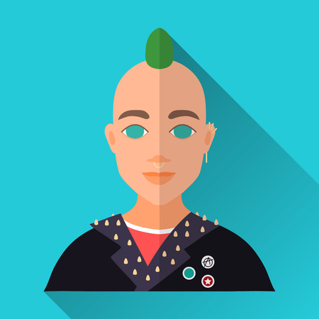 hombre: Blue flat style square shaped male character icon with shadow. Illustration of a young punk man with green mohawk and piercing wearing a black leather jacket with rivettes.