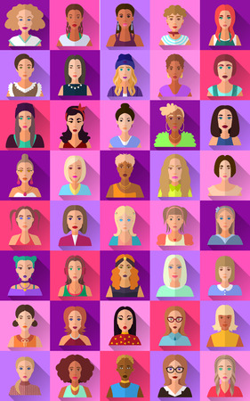 teenager: Very big set of various trendy hipster flat style square shaped female and male character icons with shadows. Represents different subcultures, age, race, nationality and lifestyles. Illustration
