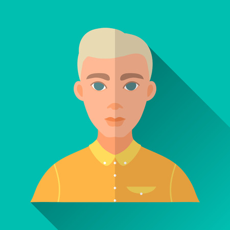 hombre: Turquoise blue flat style square shaped male character icon with shadow. Illustration of a young blonde hipster man with stylish haircut wearing a yellow shirt. Illustration
