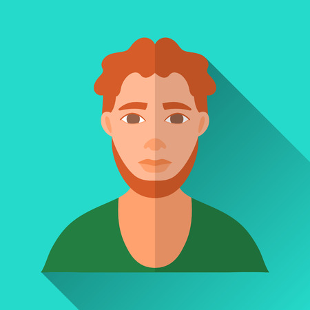 hombre: Turquoise blue flat style square shaped male character icon with shadow. Illustration of a ginger-haired bearded irish man wearing a green shirt.