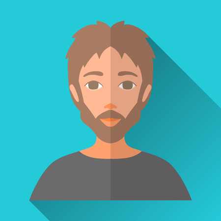 hombre: Blue flat style square shaped male character icon with shadow. Illustration of a man with stylish beard and moustache.