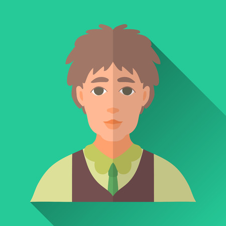 brown shirt: Green flat style square shaped male character icon with shadow. Illustration of a young man wearing a green shirt, brown vest and a tie. Illustration