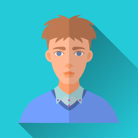 blue shirt: Blue flat style square shaped male character icon with shadow. Illustration of a skinny young man wearing a blue shirt and a pullover. Illustration