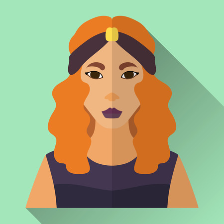 Green flat style square shaped female character icon with shadow. Illustration of an attractive asian woman with long curly ginger hair and retro hairstyle wearing a dark violet evening dress and headband.